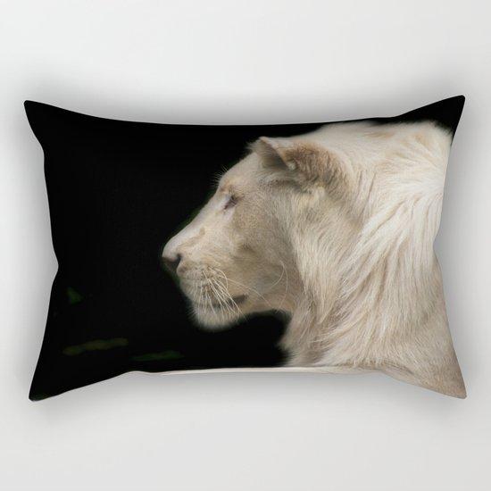 Young white lion Rectangular Pillow