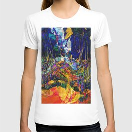 beautiful road in the night autumn forest T-shirt