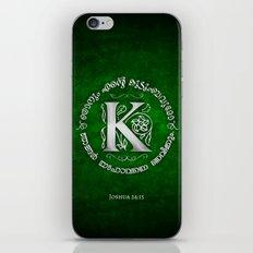 Joshua 24:15 - (Silver on Green) Monogram K iPhone & iPod Skin