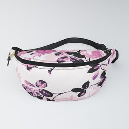 Modern blush pink black watercolor country floral Fanny Pack
