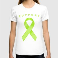 lime green T-shirts featuring Lime Green Awareness Ribbon by Campen Arts
