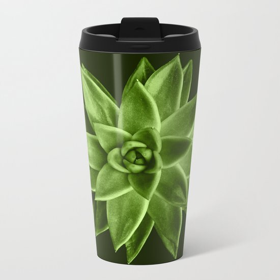 Greenery succulent Echeveria agavoides flower Metal Travel Mug