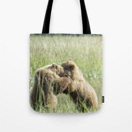 Brown Bear Cubs - Wrestling Match Tote Bag