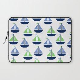 Nautical Sailboat Blue Green Laptop Sleeve