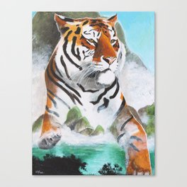 Quiet Tiger - big cat - animal - by LiliFlore Canvas Print