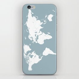 Minimalist World Map in Slate Blue iPhone Skin