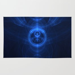 Symbol of Purpose - Beautiful Blue Blown Glass Sapphire Fractal Circles Rug