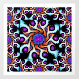 Tiled Swirly fractal pattern in purple, blue, orange and cream Art Print