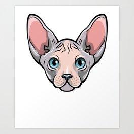 Cool Sphynx Cat Tee Shirt - T Shirt Gift For Cat Lovers Art Print