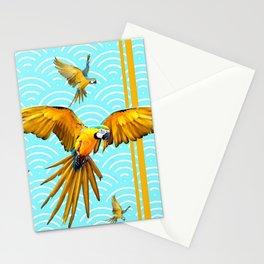 MODERN  AQUA BLUE & GOLD TROPICAL MACAWS IN FLIGHT Stationery Cards