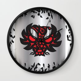 Heiltsuk Thunderbird Black & Red on Silver, with leaves Wall Clock