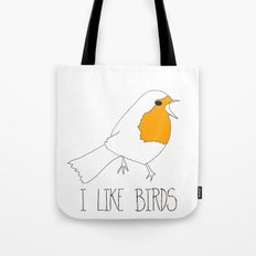 I LIKE BIRDS line drawing Tote Bag