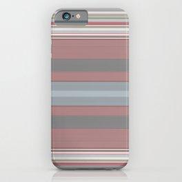 Mauve Pink Blue Grey Stripes iPhone Case
