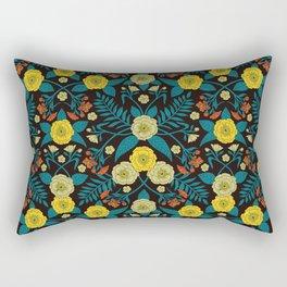 Teal, Yellow, Orange & Black Botanical Pattern Rectangular Pillow