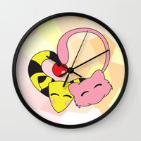 mew Wall Clocks featuring Mew and Ampharos: Heart by Constanzze