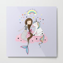 Mermaid & Unicorn Metal Print