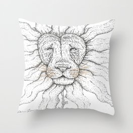 Flower Lion Throw Pillow