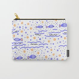 Little Blue Fish in the Sea , Waves and Water with Tiny School of Fishes Pattern Carry-All Pouch