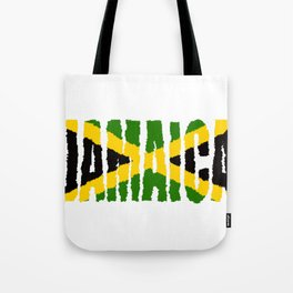Jamaica Font with Jamaican Flag Tote Bag