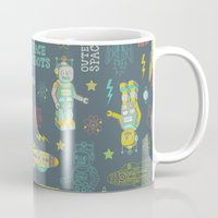 outer space Mugs featuring Robots from Outer space by Silvia Dekker