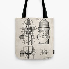 Fire Fighter Patent - Fire Hydrant Art - Antique Tote Bag