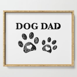 Paw print with hearts. Dog dad text. Happy Father's Day background Serving Tray