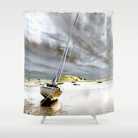 boat Shower Curtains featuring Boat by Gouzelka