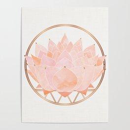 Blush Zen Lotus ~ Metallic Accents Poster