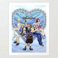 kingdom hearts Art Prints featuring Kingdom Hearts by clayscence