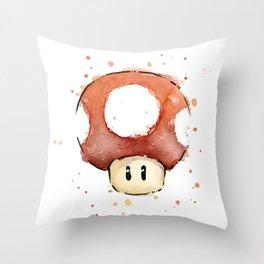 Red Mushroom Watercolor Mario Art Nintendo Geek Gaming Throw Pillow