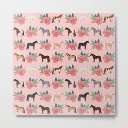 Horse Floral - florals, pink, flower, florals, bloom, horses, cowgirl, bedding, decor, cute Metal Print