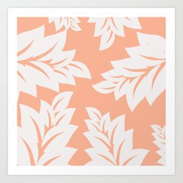 tropical coral leaves Art Print