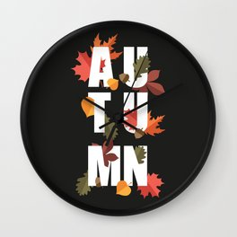 Autumn word and leaves WHITE Wall Clock