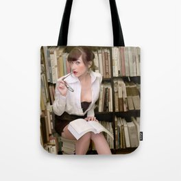 """I Like Books, Too"" - The Playful Pinup - Sexy Librarian Pin-up Girl by Maxwell H. Johnson Tote Bag"