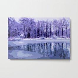Blue Winter Pond Metal Print