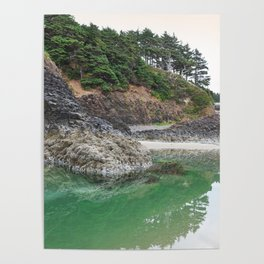 Oregon Coast Tide Pool Green Glowing Forest Coastal Cliff Rocky Landscape Beach Northwest Volcano Poster