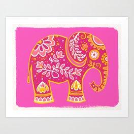 the magic elephant ... pink Art Print