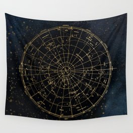 Golden Star Map Wall Tapestry