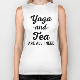 Yoga And Tea Funny Quote Biker Tank