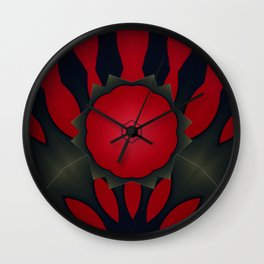 Red and Black Abstract Flower Wall Clock