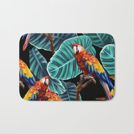 tropical leaves macaw pattern 2 Bath Mat