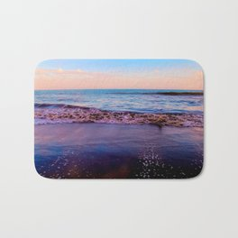 beach sunset with beautiful blue cloudy sky and blue wave in summer Bath Mat