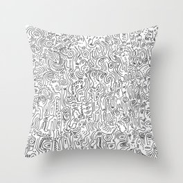 Graffiti Black and White Pattern Doodle Hand Designed Scan Throw Pillow