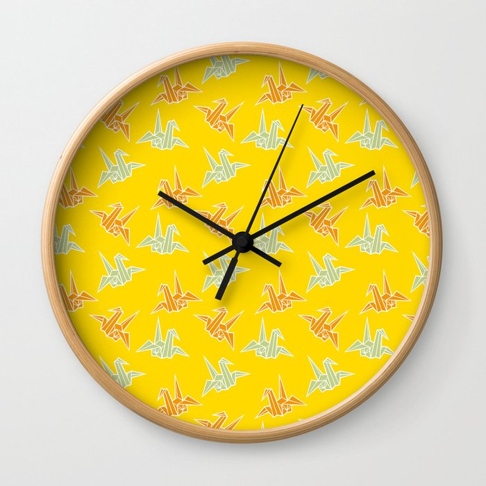 Yellow Origami Crane Japanese Kimono Pattern Wall Clock by gomineko ...