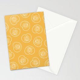 Line Drawn Peaches on Golden Yellow Stationery Cards