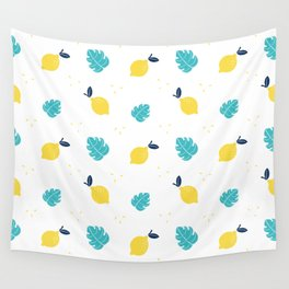 Modern sunshine yellow teal tropical cheese leaves summer fruit pattern Wall Tapestry