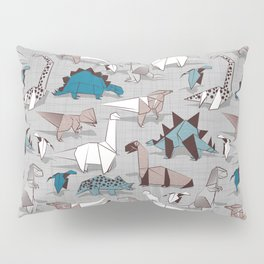 Origami dino friends // grey linen texture blue dinosaurs Pillow Sham