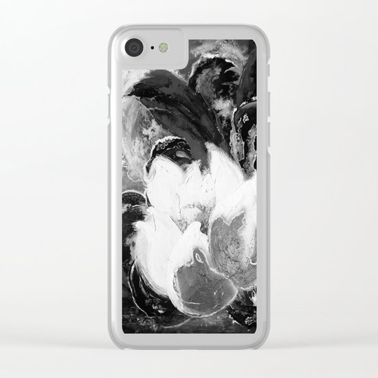 Purple Peonies in Gold with Red - Black and White Clear iPhone Case