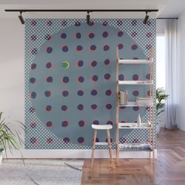 Green floats on yellow - dot graphic Wall Mural