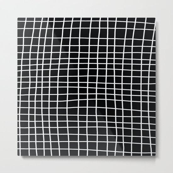 Handdawn Grid Black Metal Print